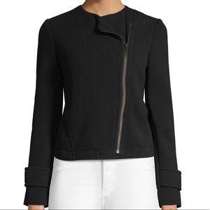 VINCE black Knit crop Moto zipper jacket NWT